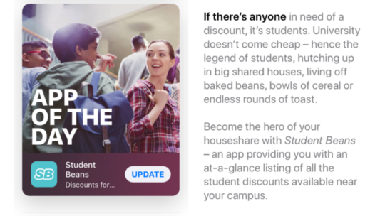 Student Beans as Apple's app of the day