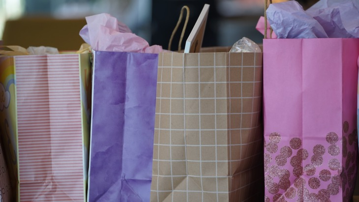 Shopping bags lined up in a row