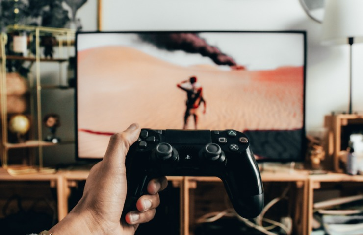 A gaming setup with a gaming controller