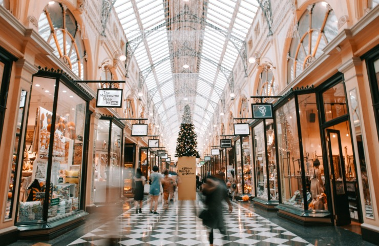 A road of luxury fashion stores in Melbourne.