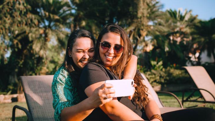 Two Gen Z social media users take a selfie