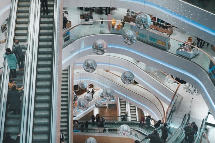 A department store escalator