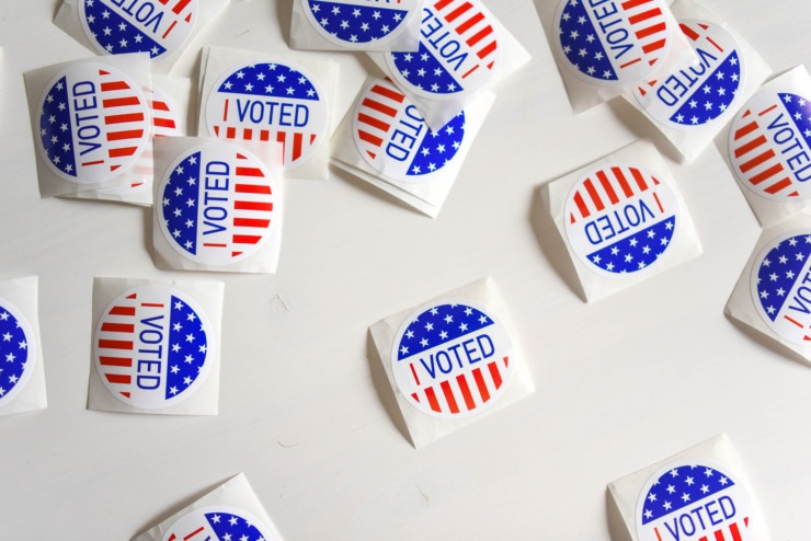 collection of 'I voted' stickers for 2020 US election