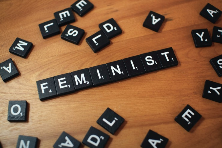 scrabble tiles put together to make the word 'feminist'