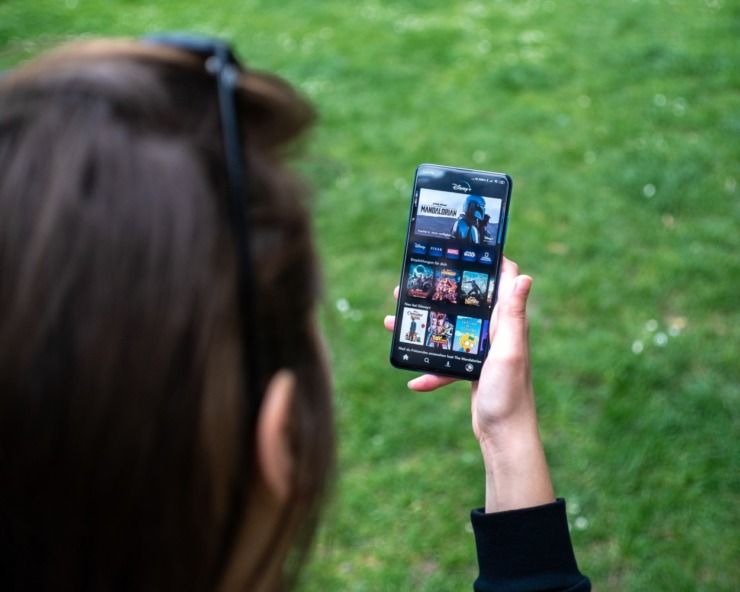 phone screen displaying Disney+ app