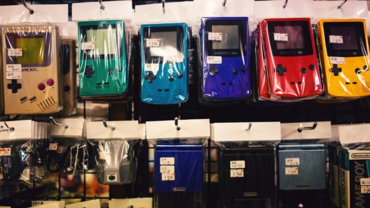 A row of GameBoys on sale