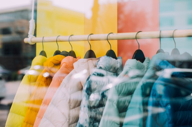 Rack of clothes in a shop window