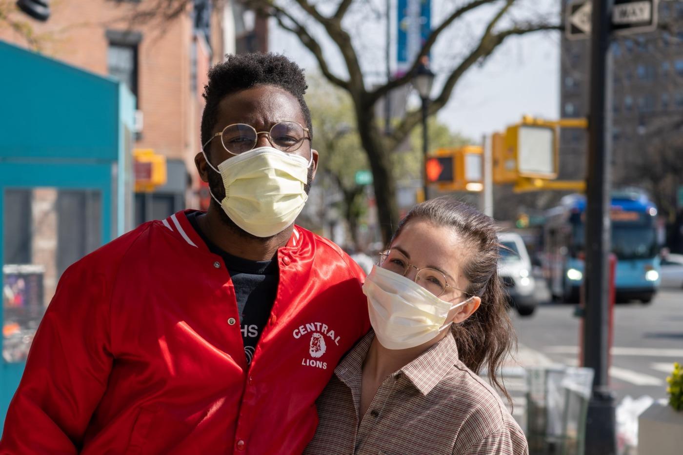 couple wearing masks