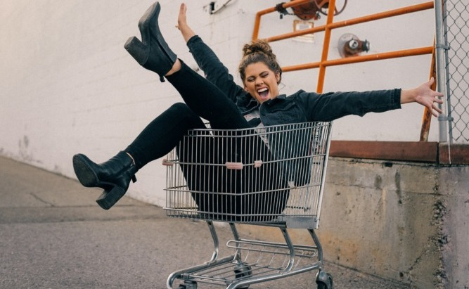 student sat in a trolley
