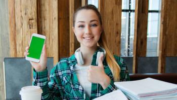 Entrepreneur press card girl holding phone